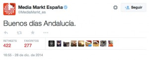 Tweet Community Manager de Media Markt sobre los Andaluces